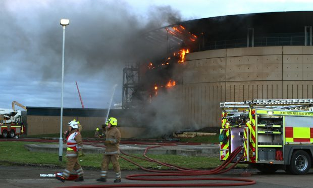 Firefighters tackling the blaze last week