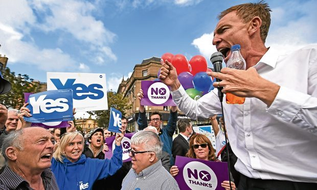 Former Scottish Labour leader Jim Murphy facing down hecklers in Dundee during the independence referendum campaign.