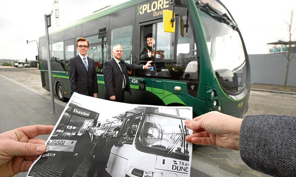 Then and now: Depute Lord Provost Christina Roberts and Xplore Dundee managers Frank Sheach and Marc Winsland this week  recreated a 1997 photograph marking the sale of Tayside Buses to National Express.
