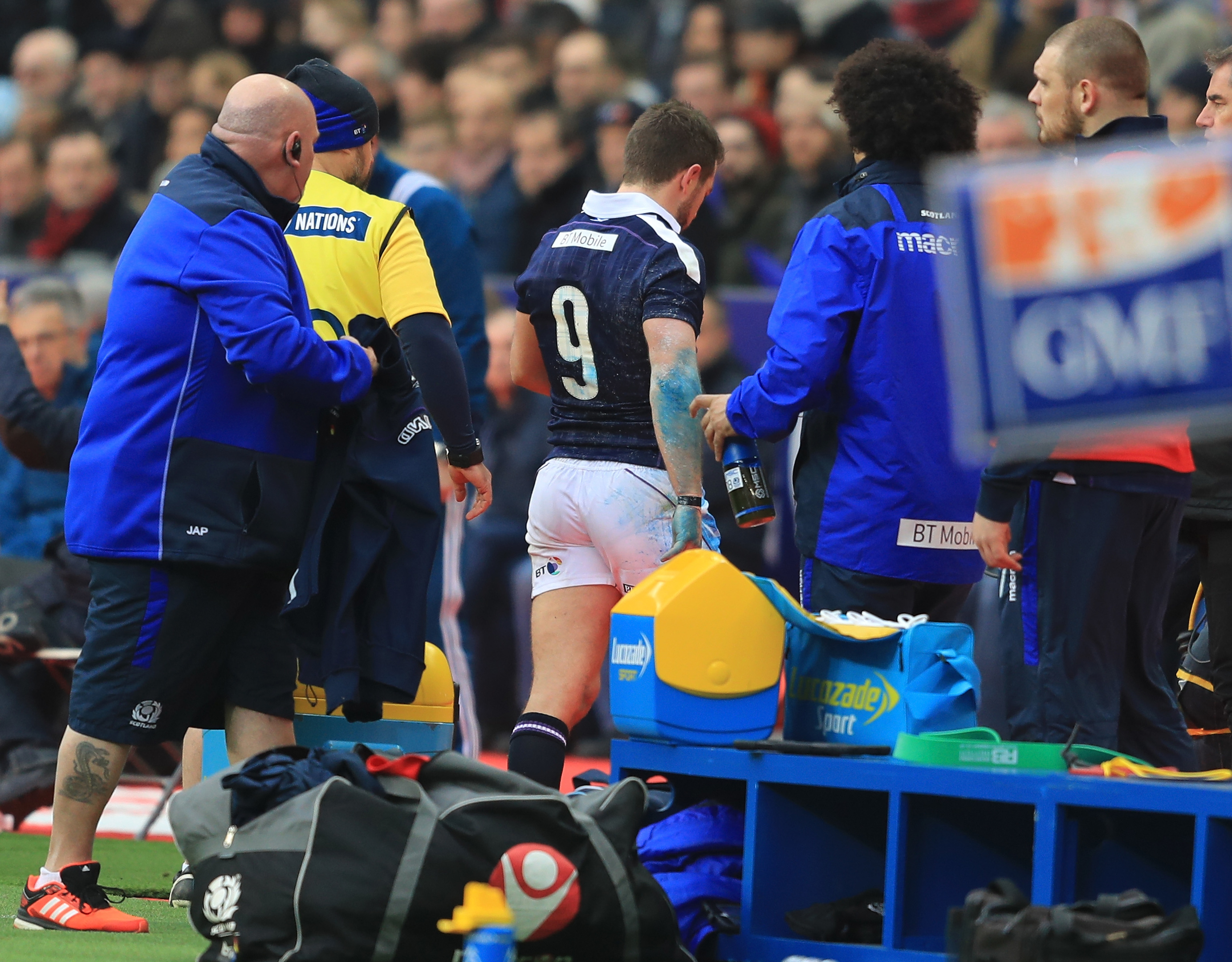 Laidlaw leaves the pitch in Paris after suffering his ankle injury.