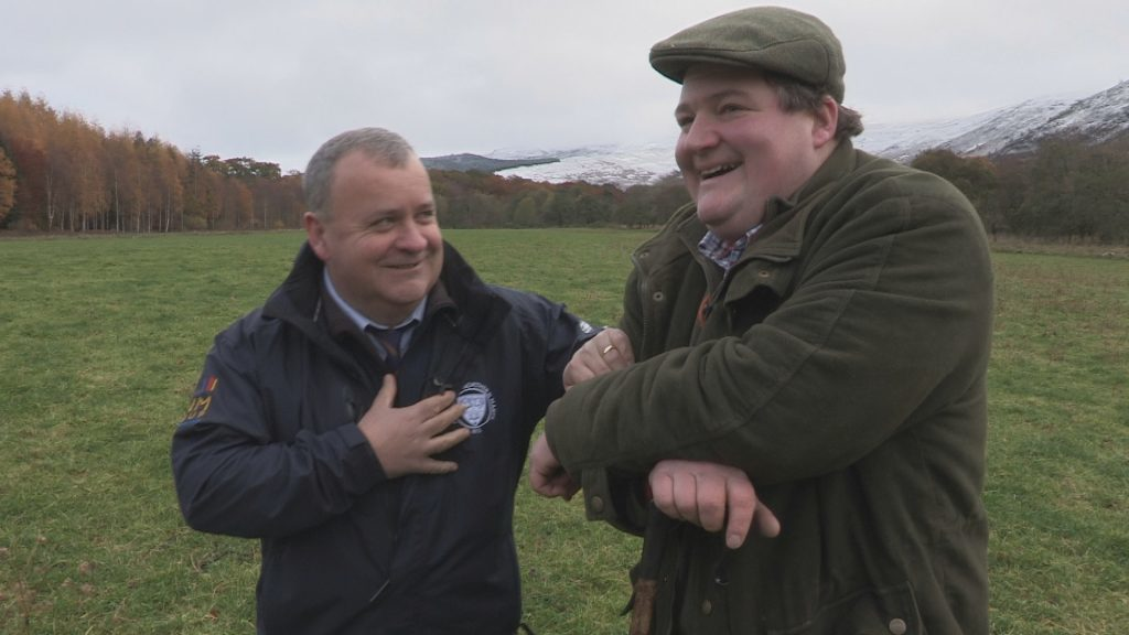 Colin Slessor with former auctioneer Finlay McIntyre, farm manager, in Perthshire