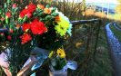 Floral tributes at Milton of Drimmie near Bridge of Cally.