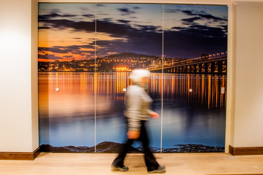 The hotel has many local touches including large-scale photographs of the Tay Bridge.
