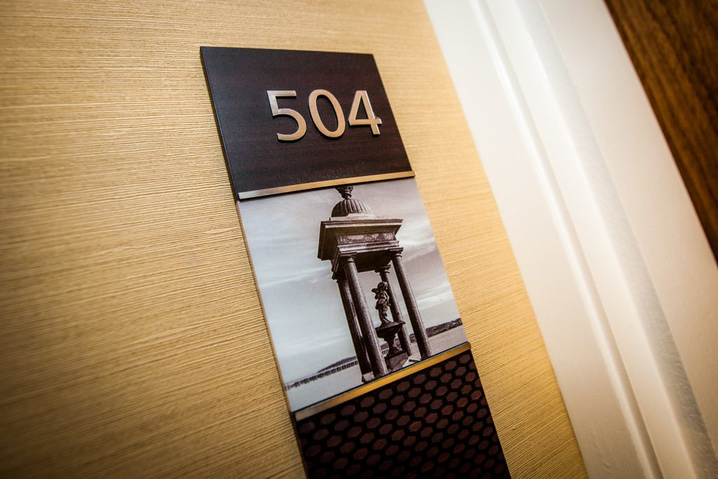 Even the room numbers feature local landmarks.
