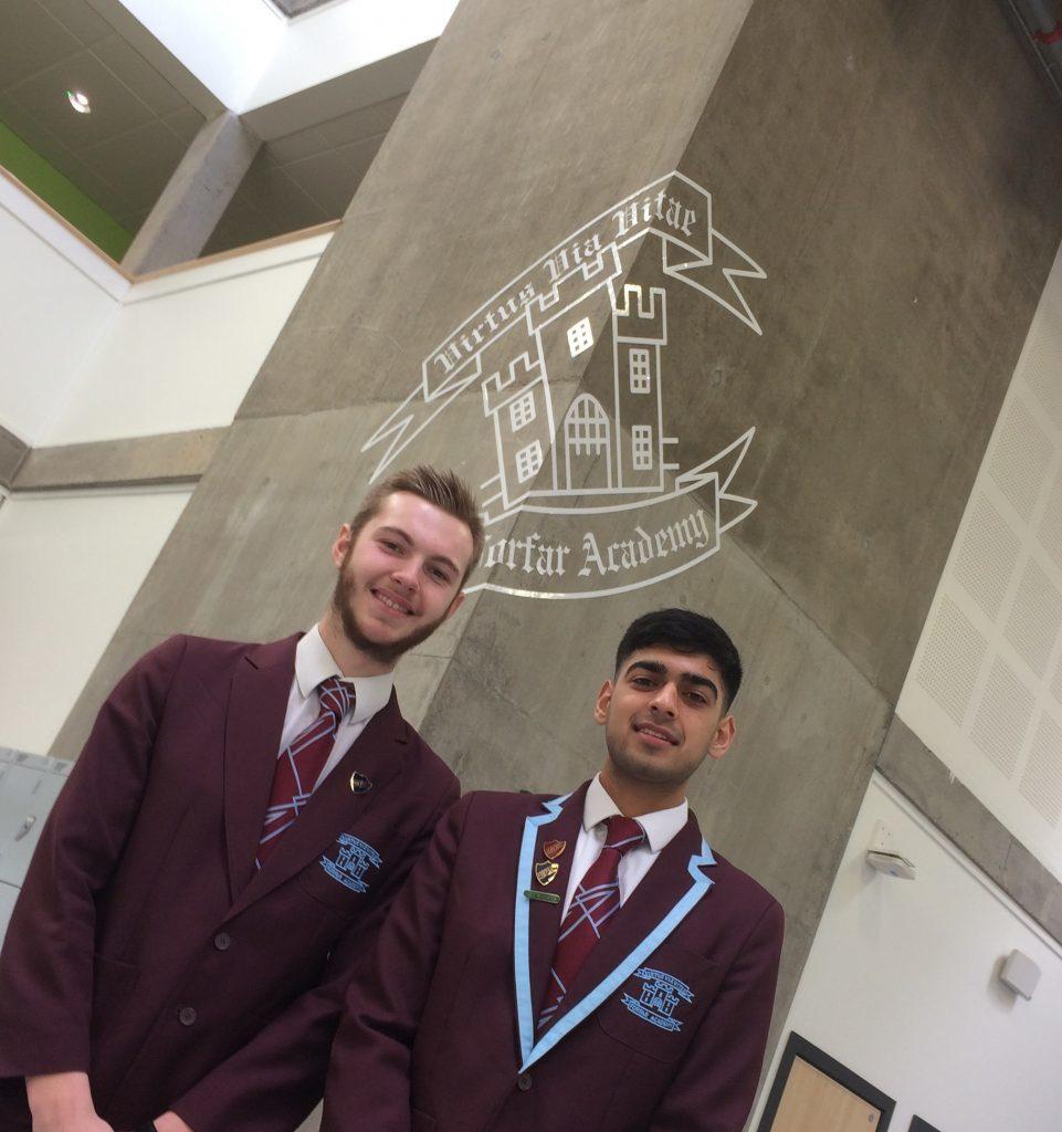 Forfar Academy prefect Robbie Scott and head boy Uthman Ahmed