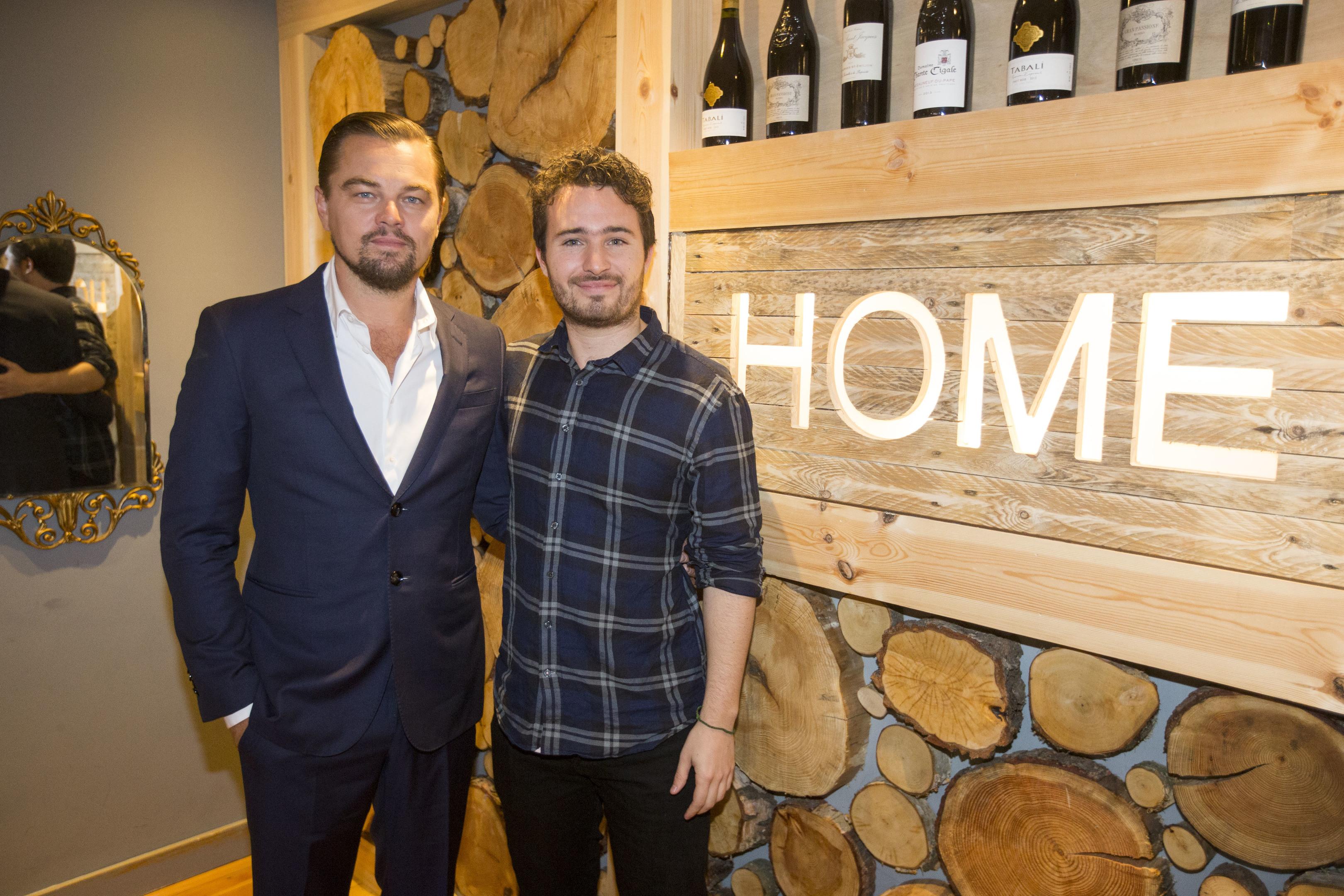 Leonardo DiCaprio with social entrepreneur Josh Littlejohn at Social Bite restaurant, Home, in Edinburgh, Scotland.