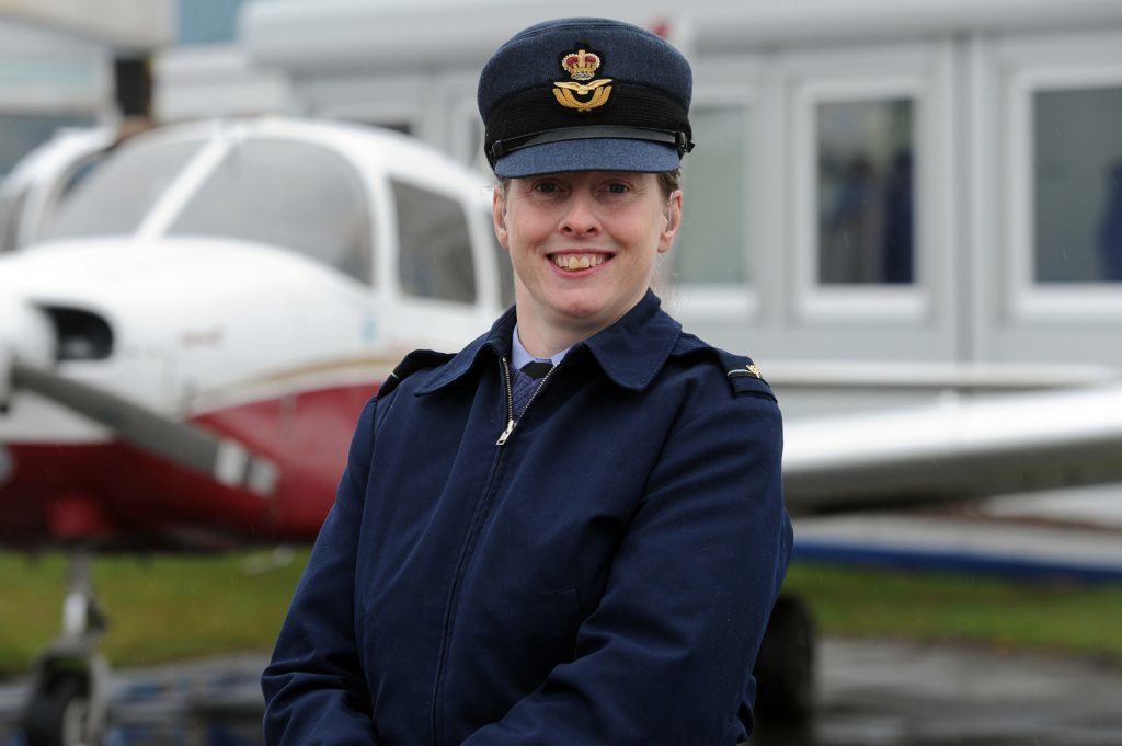 "Flying Officer Pauline Gallagher enjoys the fact ""there are no blue badges in the air""."