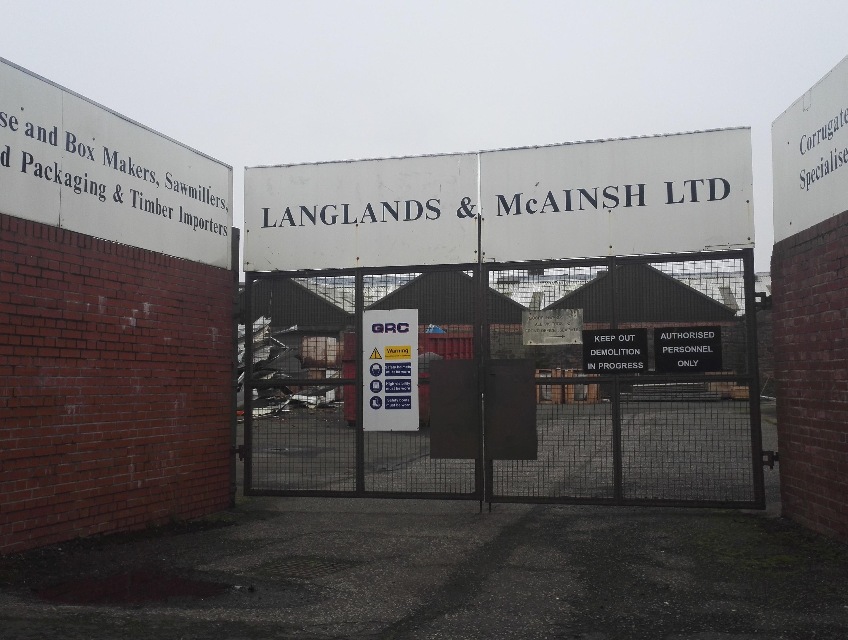 The locked gates at Langlands & McAinsh.