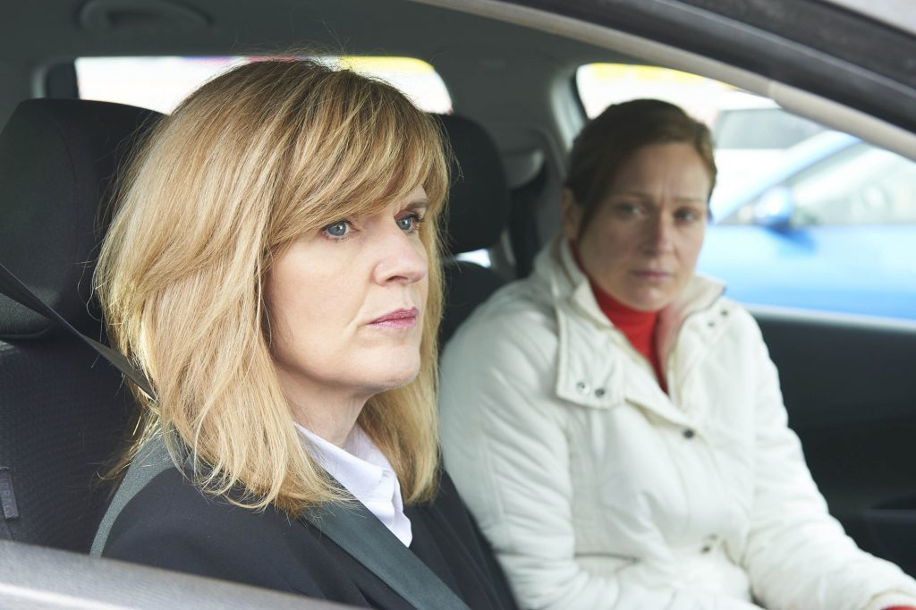 Siobhan Finneran (left) as DC Christine Freeman and Sian Brooke (right) as Natalie Brown in The Moorside