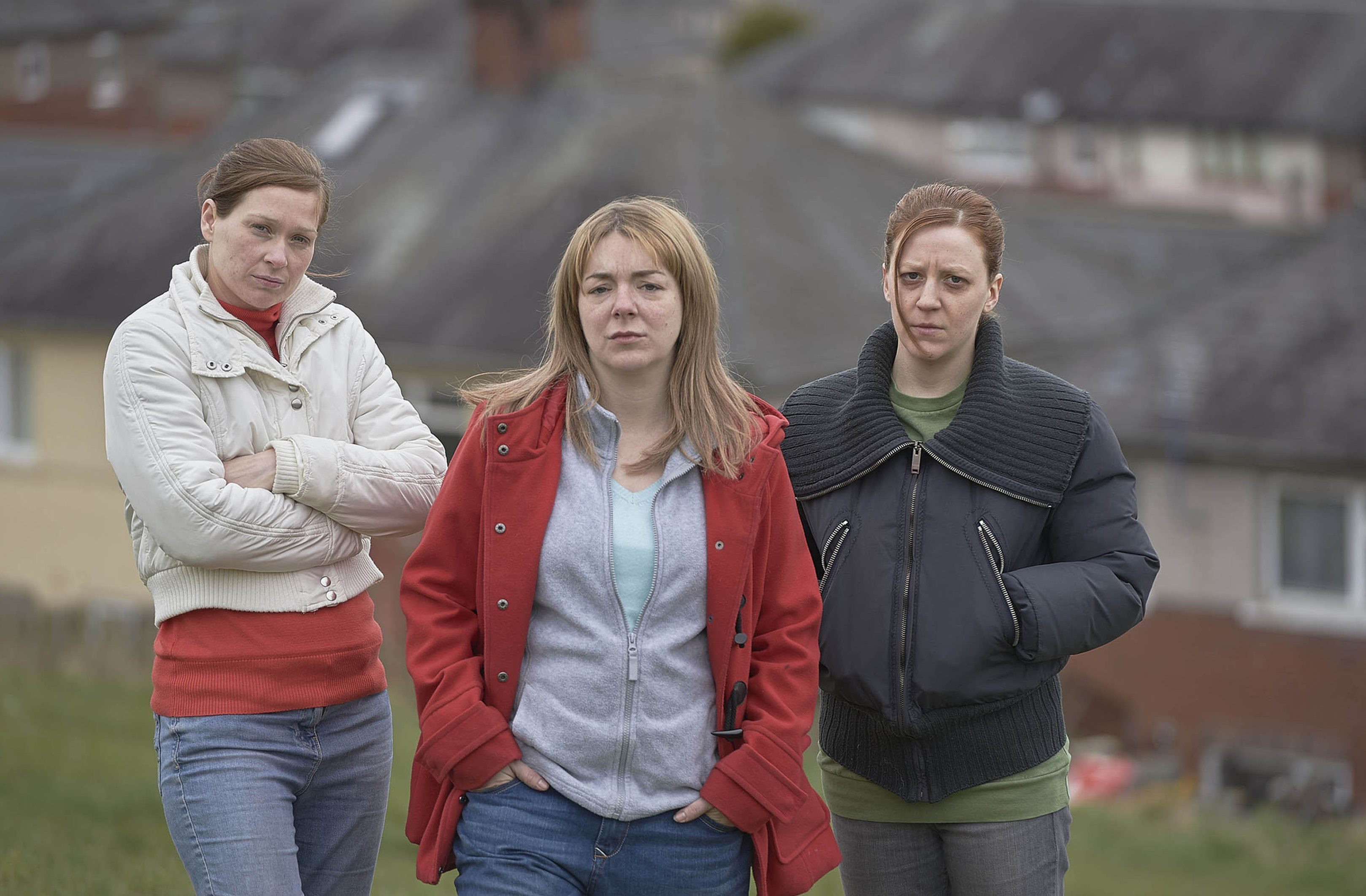 Pictured from The Moorside. (left - right) Sian Brooke as Natalie Brown, Sheridan Smith as Julie Bushby, Gemma Whelan as Karen Matthews.