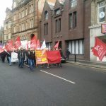 Protesters march against council cuts in Dundee