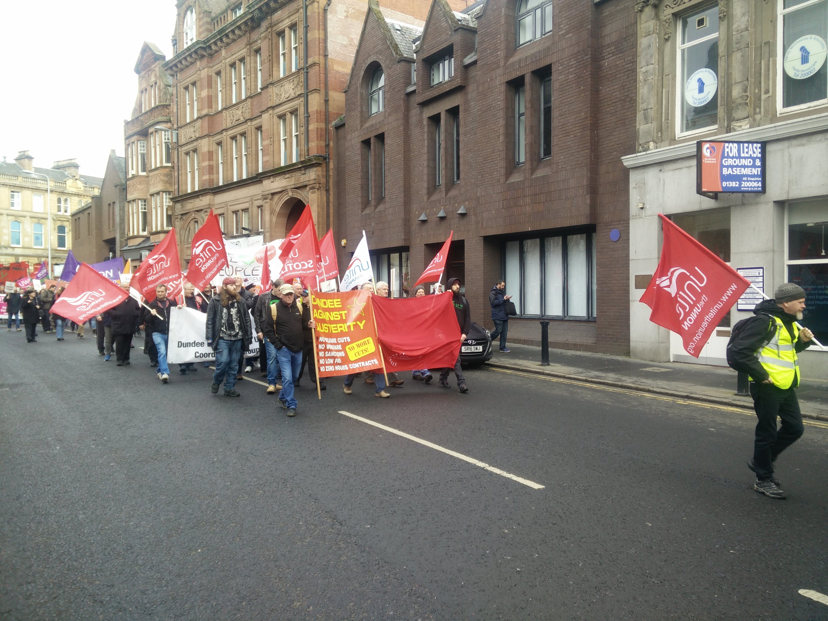 Around 100 people took part in the march