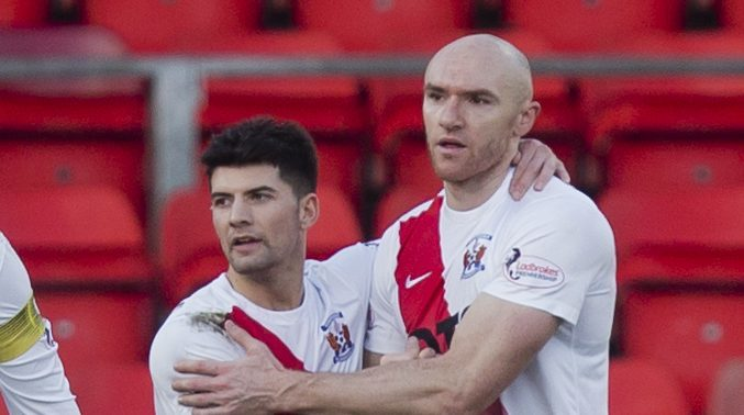 Conor Sammon, right, celebrates his goal that clinched the points for Killie.