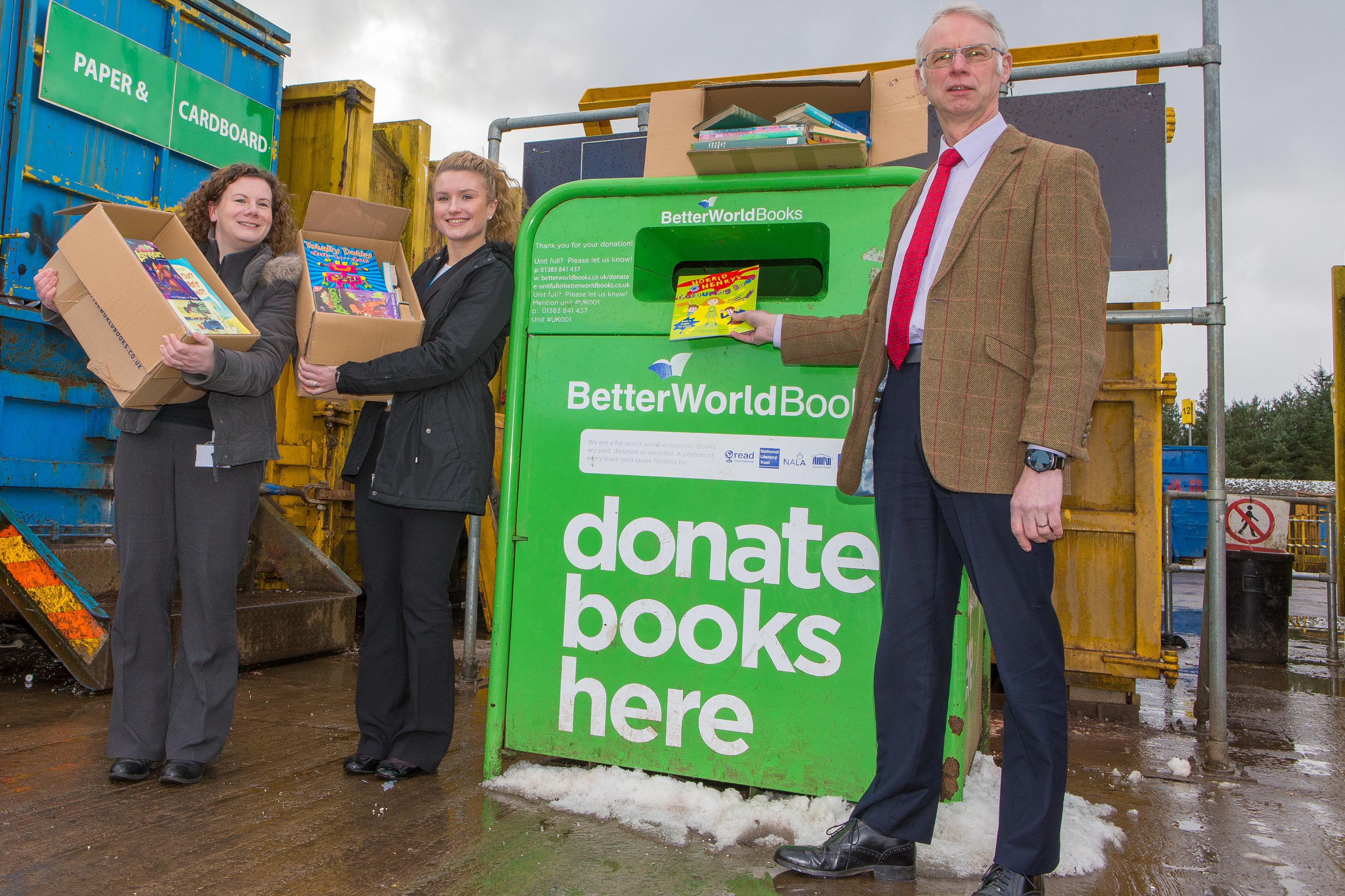 Emma Houston and Fiona Marshall from Better World Books with John Wincott