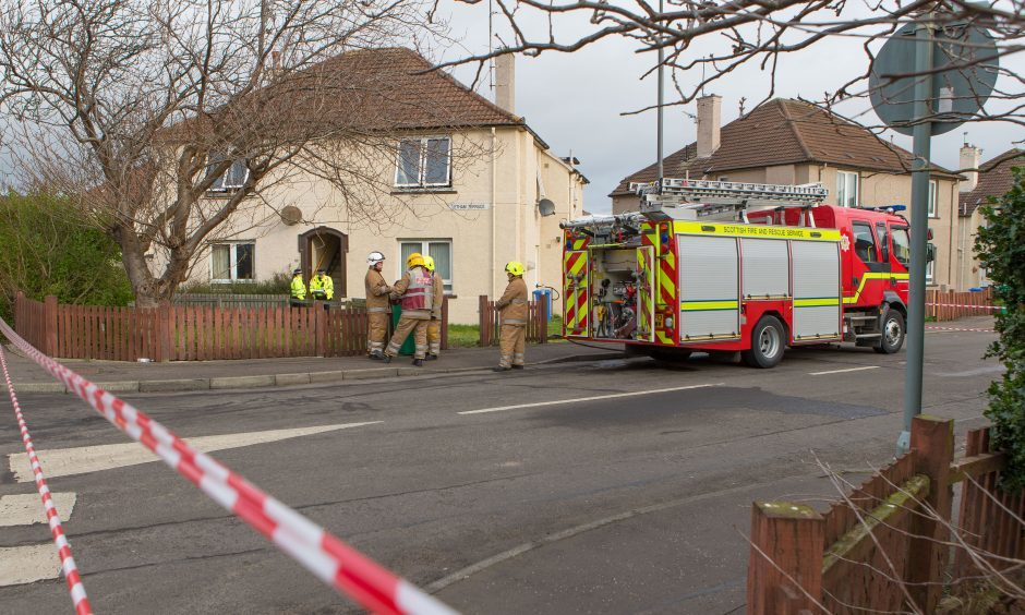 Fire crews and police in attendance at Letham Terrace in Leven.