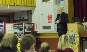 Sir Ian addresses students at Kirkcaldy High.