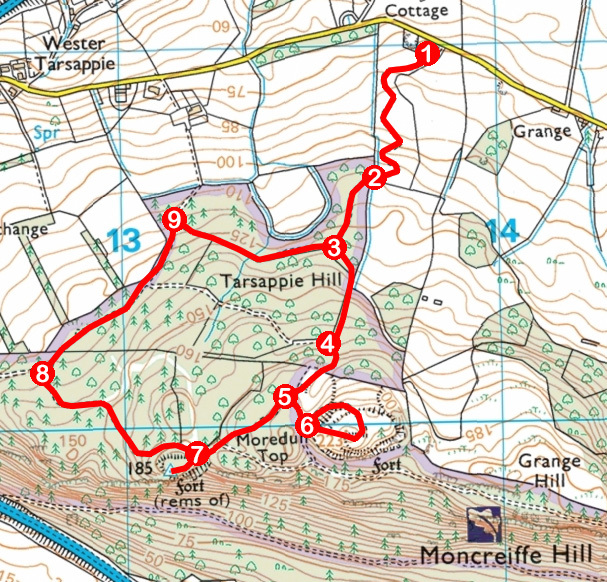 Take a Hike 151 - February 11, 2017 - Moncreiffe Hill, Perth, Perth & Kinross OS map extract