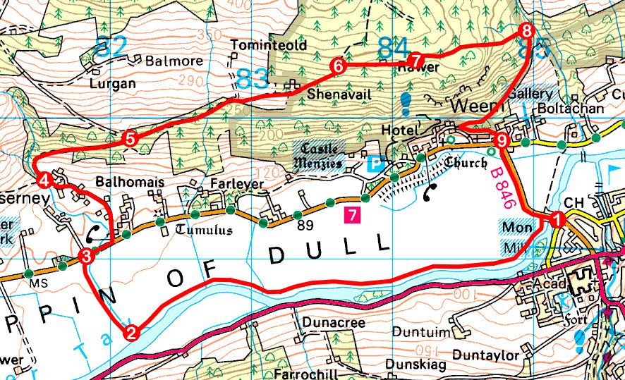 Take a Hike 152 - February 18, 2017 - Appin of Dull, Aberfeldy, Perth & Kinross OS map extract