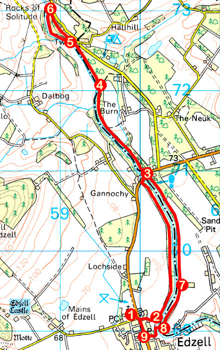 Take a Hike 153 - February 25, 2017 - River North Esk, Edzell, Angus OS map extract