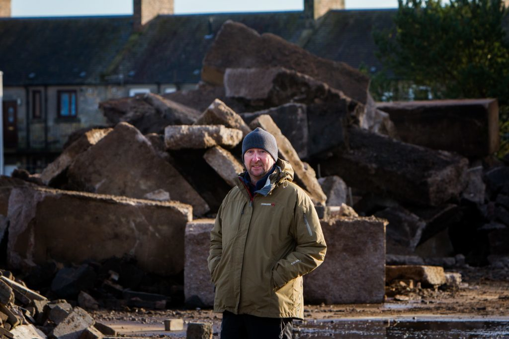 Mike Burns at the cleared Abertay Works site