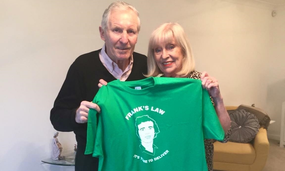 Billy McNeill and wife Liz show their support for Frank's Law.