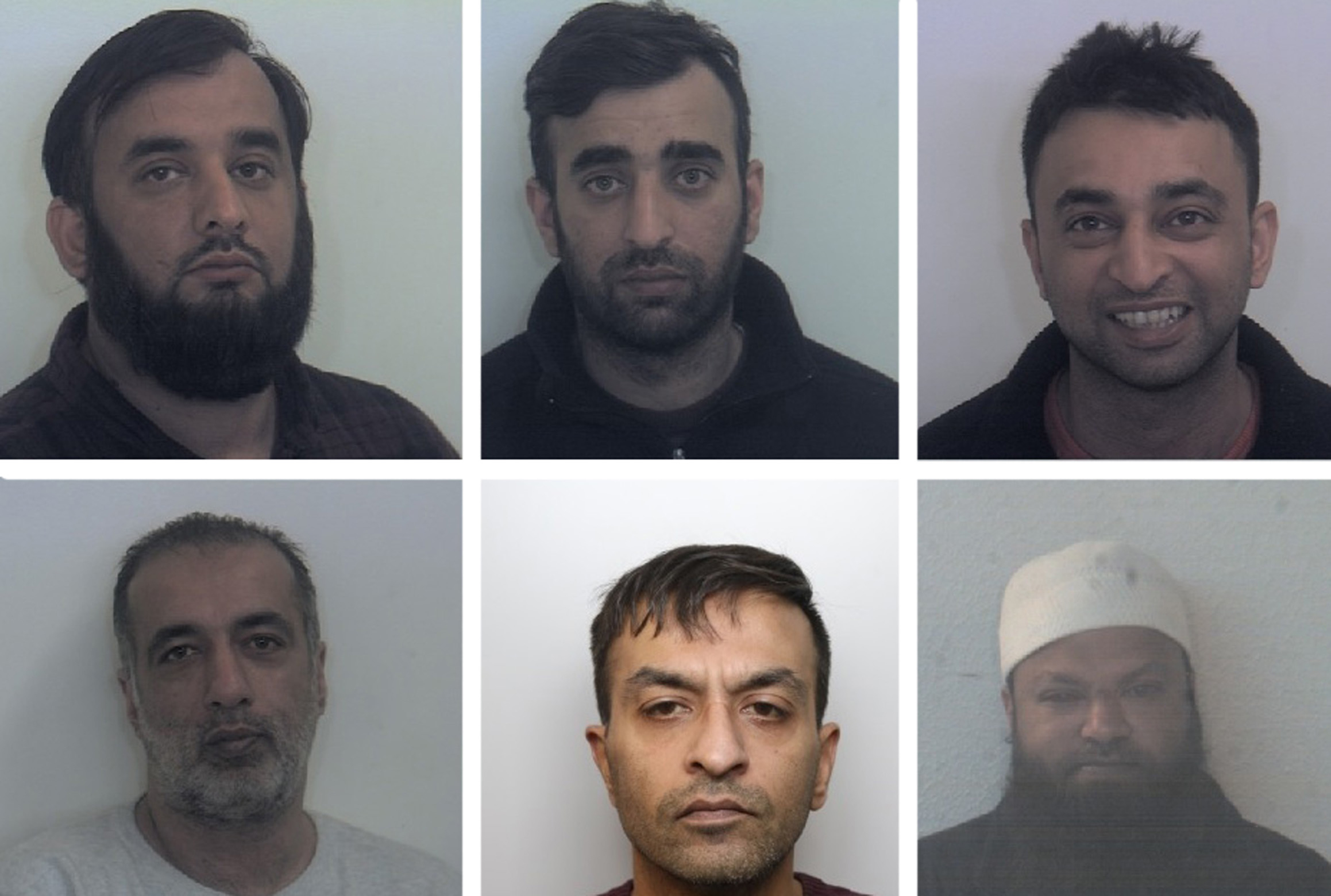 South Yorkshire Police undated photos of (top row left to right) Tayab Dad, Nasar Dad, Basharat Dad, (bottom row left to right) Matloob Hussain, Mohammed Sadiq and Amjad Ali who have been given jail sentences at Sheffield Crown Court for sex offences after they groomed two girls and sexually abused in Rotherham between 1999 and 2001.