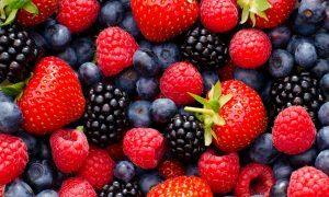 Close up / Macro photography of wild berry mix - strawberries, blueberries, blackberries and raspberries