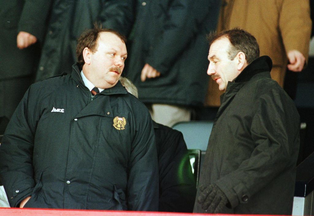 Jimmy (left) and Peter Marr at Dens Park.