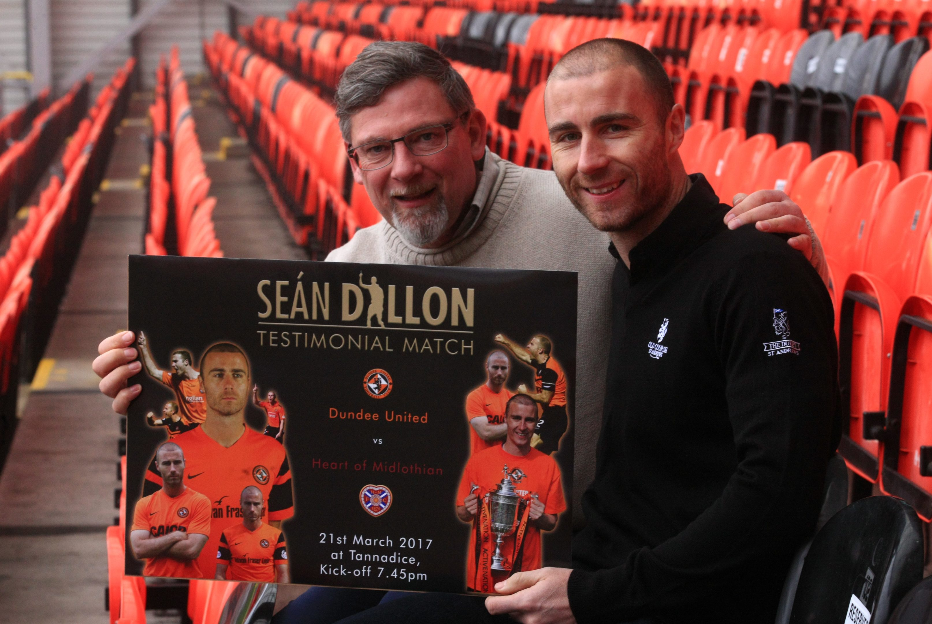 Sean Dillon with Hearts director of football Craig Levein, whose club will feature in Dillon's testimonial match.