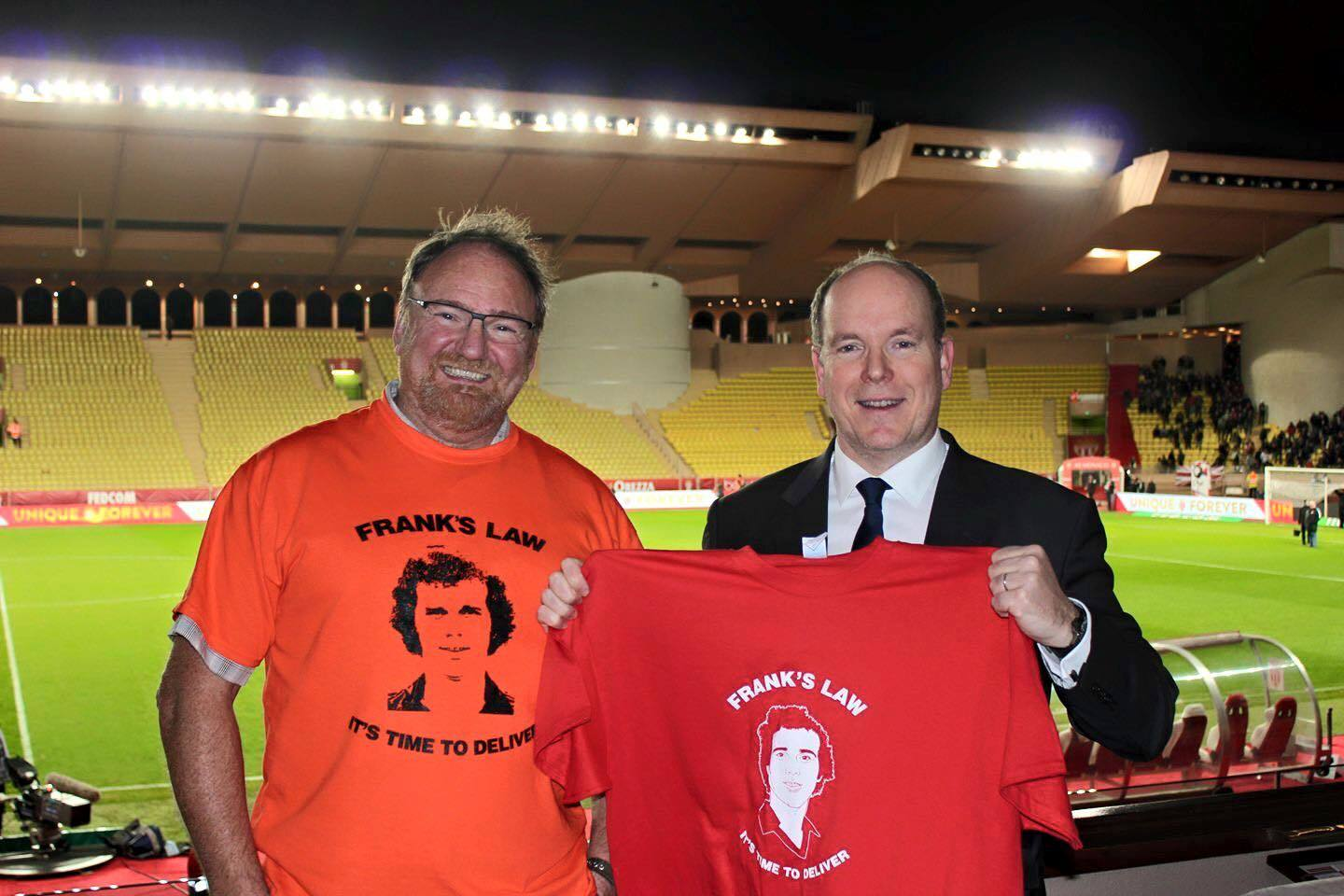 Prince Albert II (right) with his Frank's Law t-shirt and Rob Morrison at the Stade Louis II