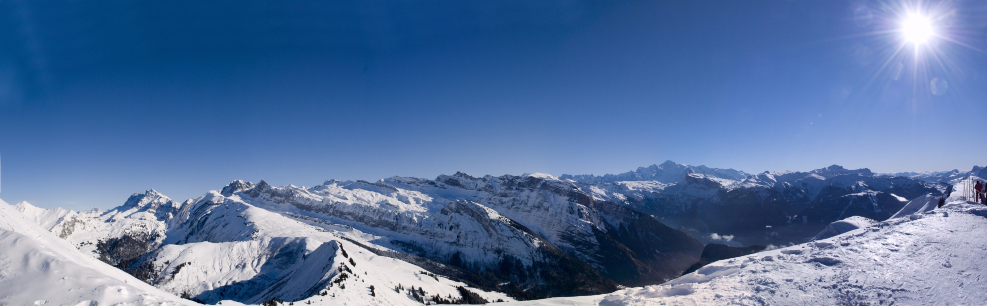 The snowy slopes of the French Alps beg to be explored on skis.