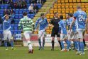 05/02/17 LADBROKES PREMIERSHIP     ST JOHNSTONE v CELTIC     MCDIARMID PARK - PERTH     The St Johnstone players cannot believe it after referee Craig Thomson points to the spot