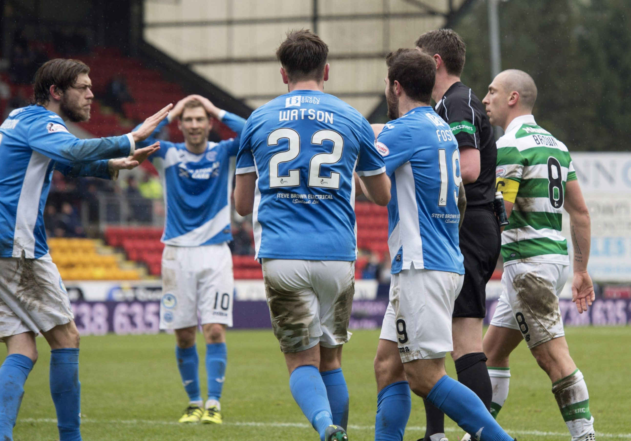 The St Johnstone players vent fury after penalty decision.