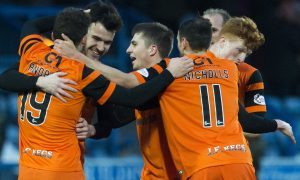18/02/17 IRN-BRU CUP SEMI FINAL    QOTS V DUNDEE UNITED    PALMERSTON PARK - DUMFRIES    Dundee United's Scott Fraser celebrates with teammates after he scores his side's second goal