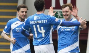 Liam Craig celebrates his first goal with his team-mates.