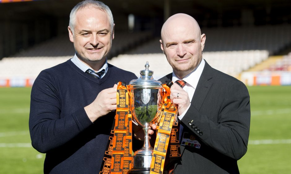 Stephen Thompson and Ray McKinnon with the recently-won Irn-Bru trophy.