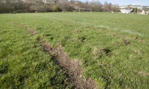 The damaged pitch.