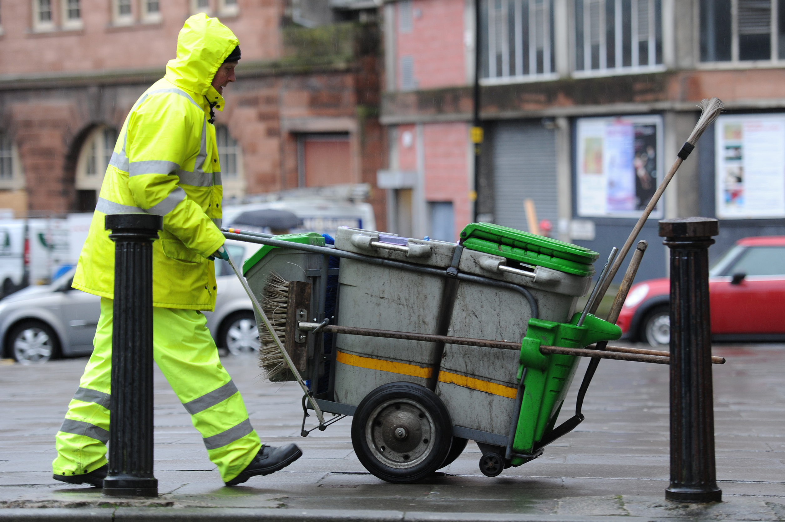 A street cleaner at work in Dundee.