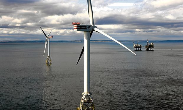 Turbines installed as part of SSEs Beatrice demonstrator project. Perth-based SSE is a co-venturer on the Seagreen wind farm project which is currently stalled by a court challenge.