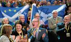 SNP supporters cheer at the SNP's conference in Aberdeen.