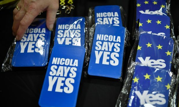 Merchandise on sale at the SNP conference.