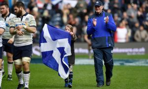 Outgoing head coach Vern Cotter and daughter Arabella (8) enjoy the applause of Scotland fans after the win over Italy.