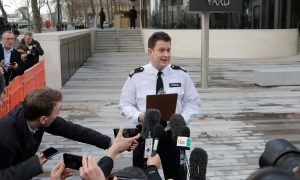 Commander BJ Harrington of the Metropolitan Police gives a statement outside New Scotland Yard.