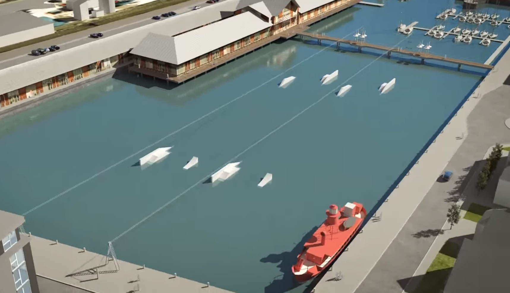 An image from a fly-through video simulation of the waterfront area shows the wakeboarding site.