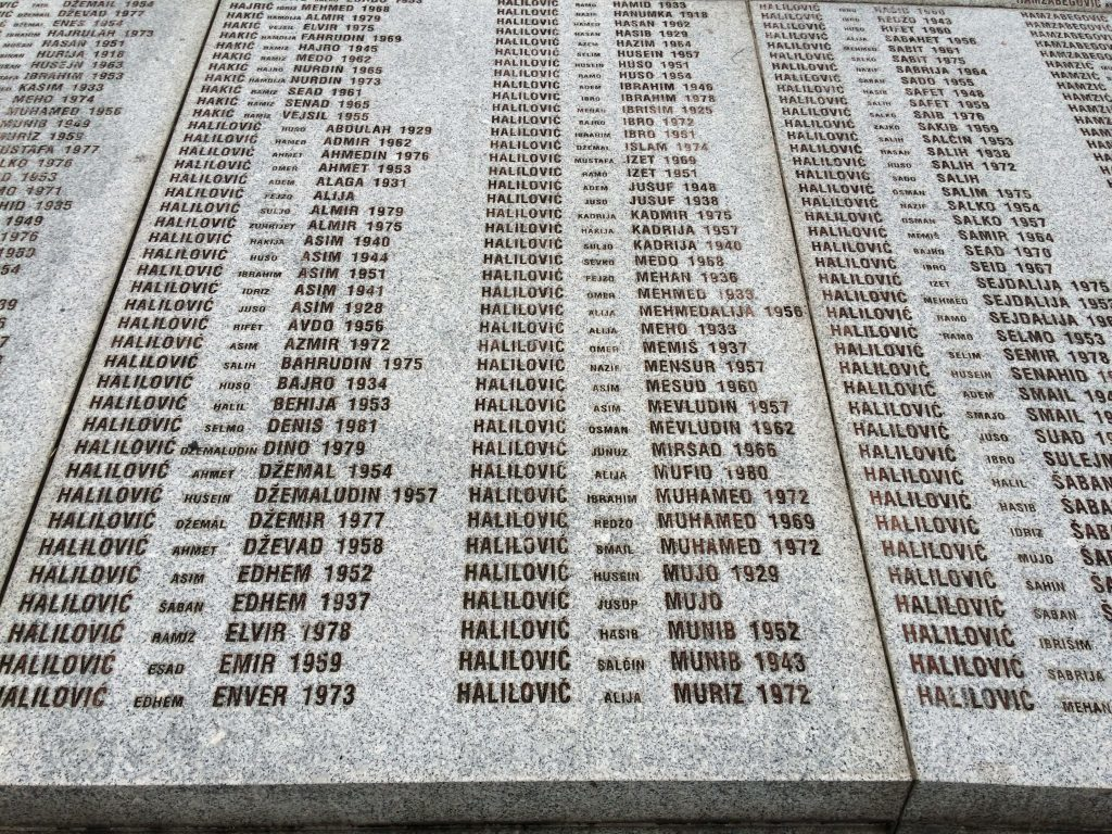 Names pf some of those who perished in the Srebrenica massacre of 1995