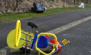 A child's toy was among the rubbish left at Broxden Park and Ride.