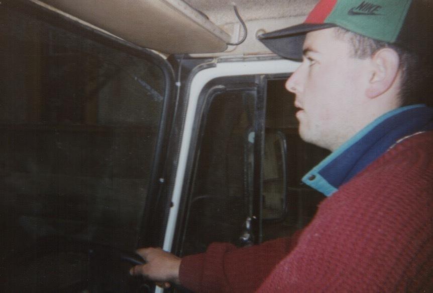 David Hamilton driving an aid lorry in Bosnia in 1995