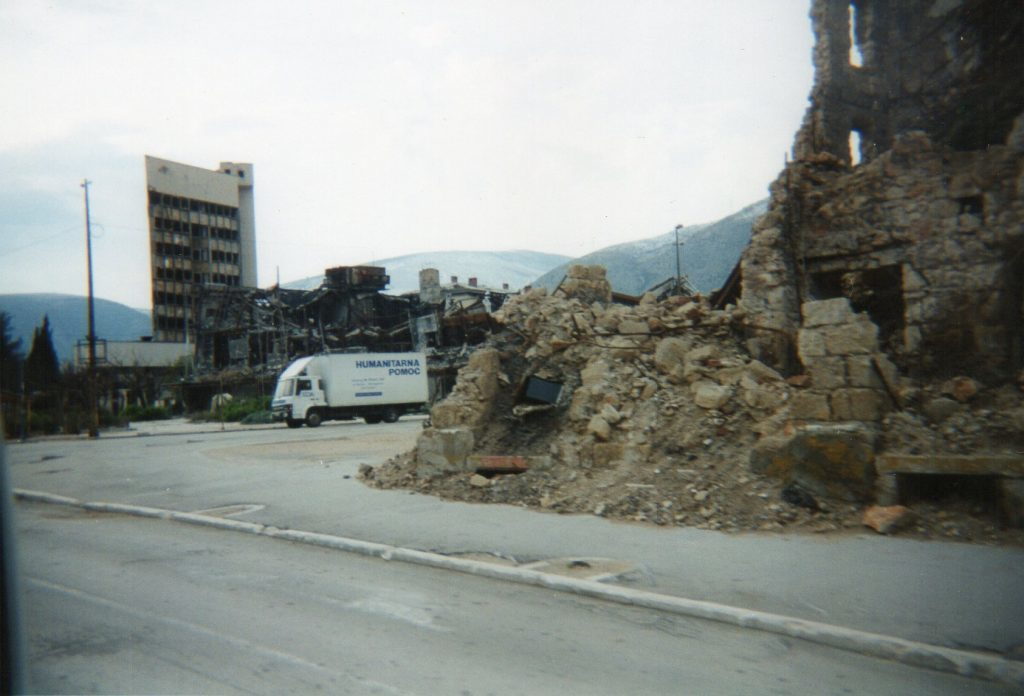 Aid lorry during rubble strewn streets of Sarajevo in 1995