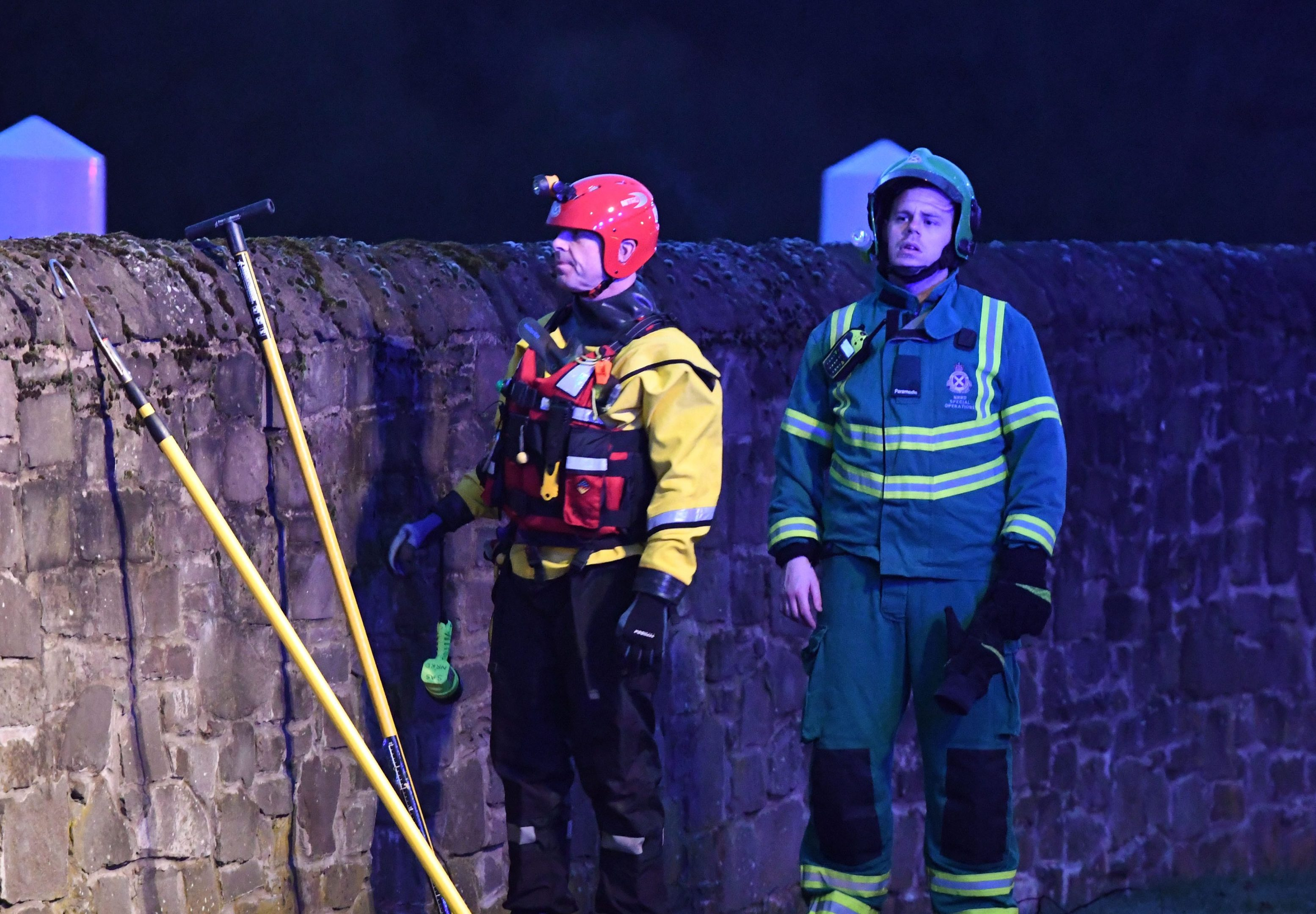 Emergency personnel involved in the River Tay search in Perth.