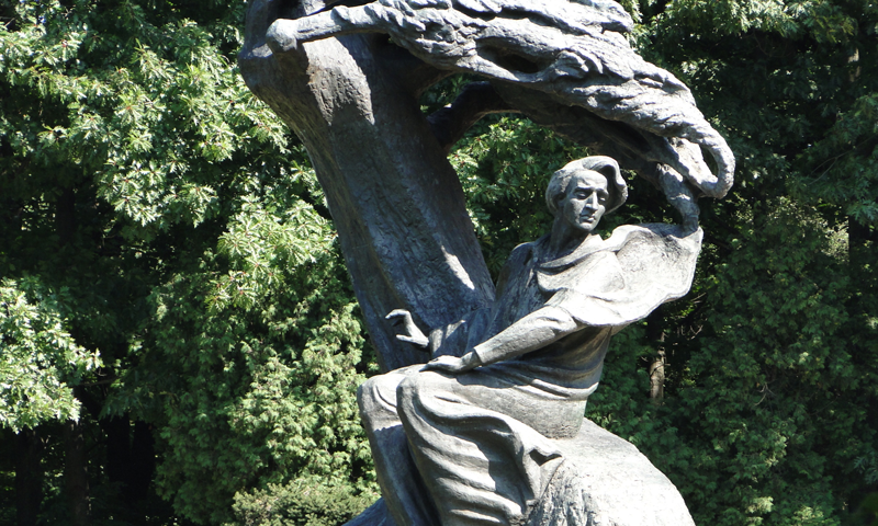 Frederic Chopin monument in Warsaws Royal Baths Park aka lazienki Park